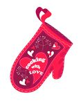 Cooking with love. Valentine postcard with red oven glove Stock Photo