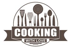 Cooking with love round vector design for your logo or emblem with banner and silhouettes of cooking utensils and kitchenware.  royalty free illustration