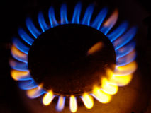 Cooking machine flame. Gas cooking machine Royalty Free Stock Photos