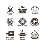 Cooking master classes labels. Restaurant or cafe menu emblems. Chef vector logo isolated on white background. Restaurant class cooking badge illustration stock illustration