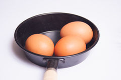 Cooking meal preparation. With eggs and a black pan Stock Images