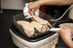 Cooking meat. On a table wiener schnitzel stock image