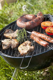 Cooking meat on the barbecue. Food, gastronomy, cooking,cookery Stock Photos