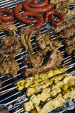Cooking meat barbecue. Brochette, merguez Royalty Free Stock Photos