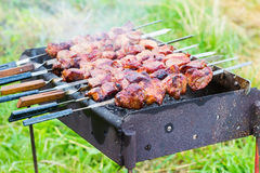 Cooking meat on barbecue, close-up, outdoors Stock Image