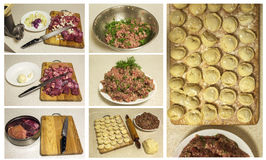 Cooking meat. cooking homemade ravioli and pork ground beef Royalty Free Stock Photos