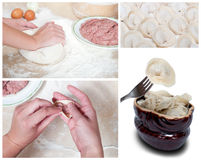 Cooking meat dumplings Stock Images