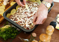 Cooking  meat with  mushrooms and portatoes Stock Image