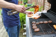 Cooking Meat On The BBQ Royalty Free Stock Photos