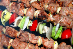 Cooking meat and vegetables on the fire Royalty Free Stock Image