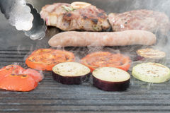Cooking meat with vegetables Royalty Free Stock Image