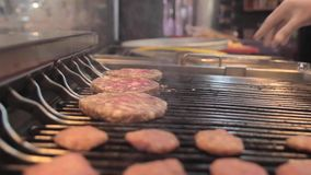 Cooking meatball on grill. Close up stock video footage
