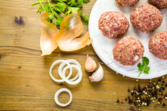 Cooking meatballs Stock Images