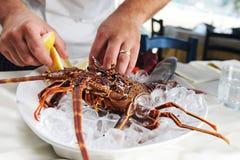 Cooking a mediterranean crayfish Stock Photos