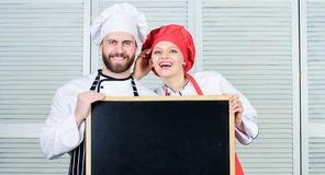 Cooking menu for today. List ingredients cooking dish. Family restaurant. Opening soon. Hiring staff. Woman and man chef. Cooking menu for today. List royalty free stock image