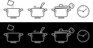 Cooking method in four steps. Black and white drawing stock photos