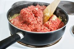 Cooking minced meat Stock Photography