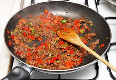 Cooking Minced meat sauce Royalty Free Stock Photography