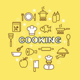 Cooking minimal outline icons Stock Photography