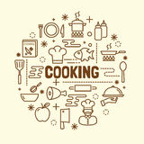 Cooking minimal thin line icons set Royalty Free Stock Photography