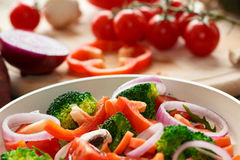Cooking mixed vegetables. Cooking mixed raw and fresh vegetables Royalty Free Stock Photo