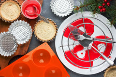 Cooking modern dessert for winter holiday party - festive tartle Royalty Free Stock Photo