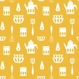 Cooking monochrome repetitive background for kitchen. Simple vector seamless pattern for kitchen fabrics, napkins, wrapping paper royalty free illustration