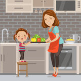 Cooking. Mother and daughter prepare vegetables to make a salad.Little girl wash vegetables, Prepare to cook together.Family lifestyle concept Characters cartoon Royalty Free Stock Image