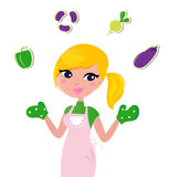 Cooking Mother jugglery with Vegetable. vector illustration