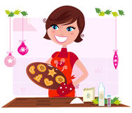 Cooking mother preparing christmas cookies stock illustration