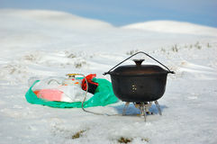 Cooking in the mountains Royalty Free Stock Photo