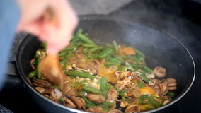 Cooking with mushrooms, green beans eggs stock footage