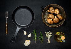 Cooking Mushrooms with Ingredients Stock Photography