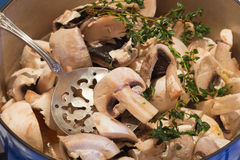 cooking mushrooom soup stock images