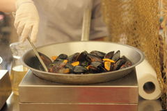 Cooking mussels Stock Image