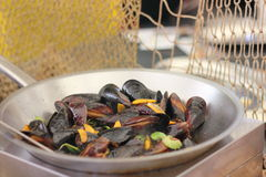 Cooking mussels Royalty Free Stock Image