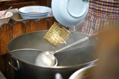 Cooking noodle cooking Noodles and vegetable boil royalty free stock photo