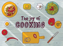 Cooking objects top view flat wood background Stock Image