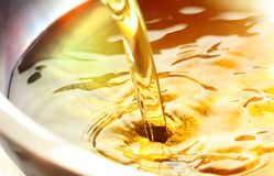Cooking oil. Pouring cooking oil to a wok Royalty Free Stock Photography