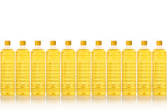 Cooking oil bottle in a row Royalty Free Stock Photo
