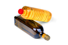 Cooking oil bottles Royalty Free Stock Images