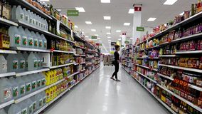 Cooking oil and crackers corridor stock footage
