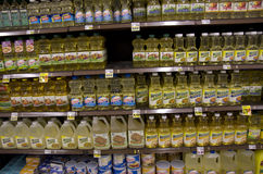 Cooking oil in grocery store Royalty Free Stock Image
