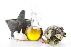 Cooking oil and ingredient Stock Image