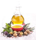 Cooking oil and olive Royalty Free Stock Photography