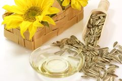 Cooking Oil with Sunflower Seeds Royalty Free Stock Photos