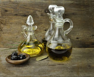 Cooking Oil And Vinegar. Vegetable And Olive Oil With Balsamic Vinegar Stock Image
