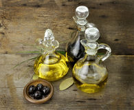 Cooking Oil And Vinegar. Vegetable And Olive Oil With Balsamic Vinegar Royalty Free Stock Photo