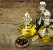 Cooking Oil And Vinegar. Vegetable And Olive Oil With Balsamic Vinegar Stock Photo