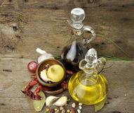 Cooking Oil Vinegar And Spices Royalty Free Stock Photography